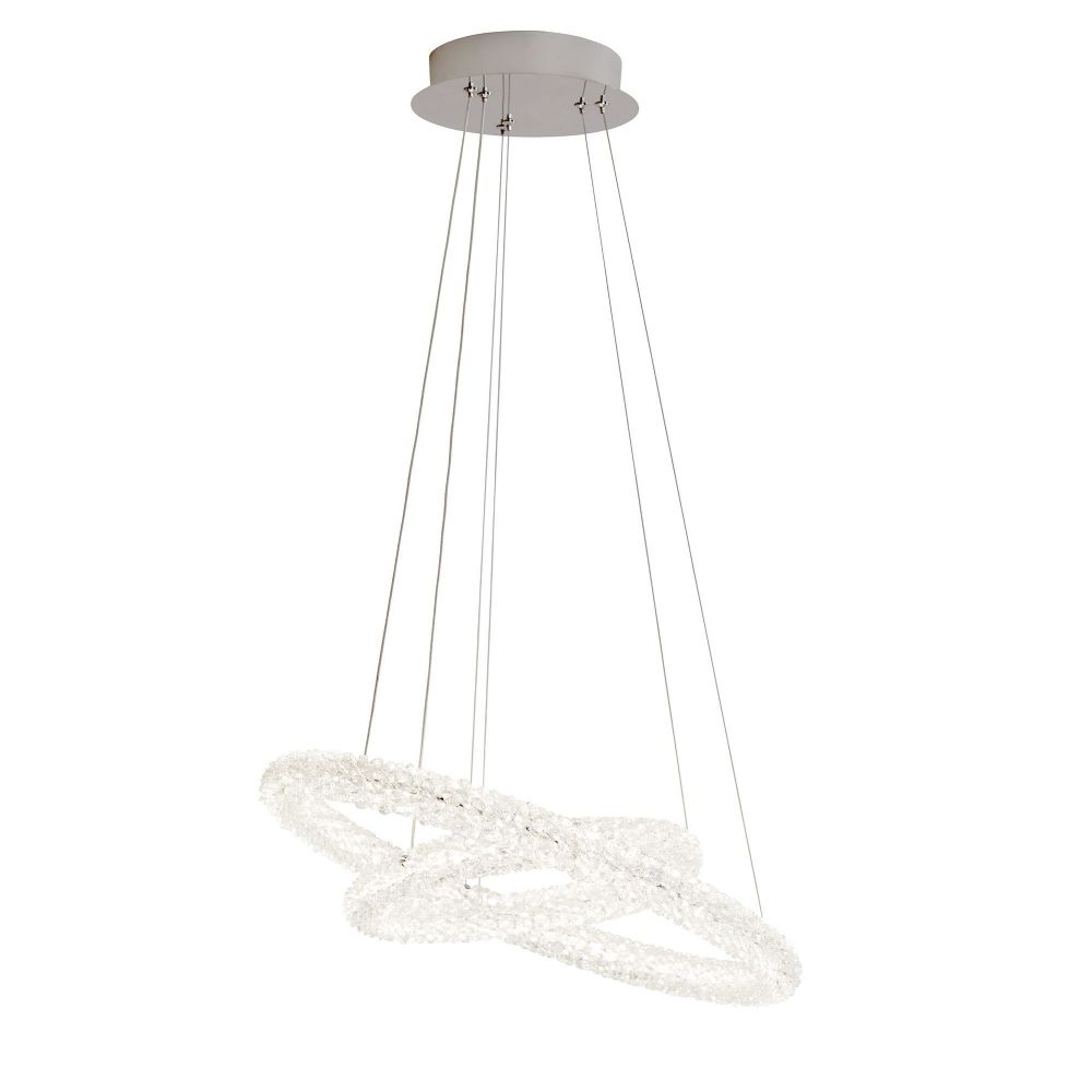 Circle Led 2 Ring Ceiling Pendant, Chrome, Clear Crystal (Double Insulated) Bx31610-2Cc-17